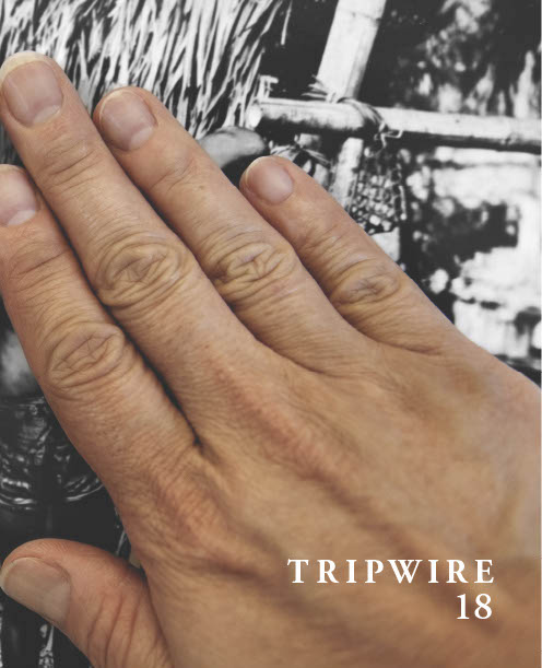 """Front cover of Tripwire 18, featuring a photograph of a light-skinned hand covering a black and white photograph. In a white serif font in the bottom right corner is written, """"TRIPWIRE 18"""""""